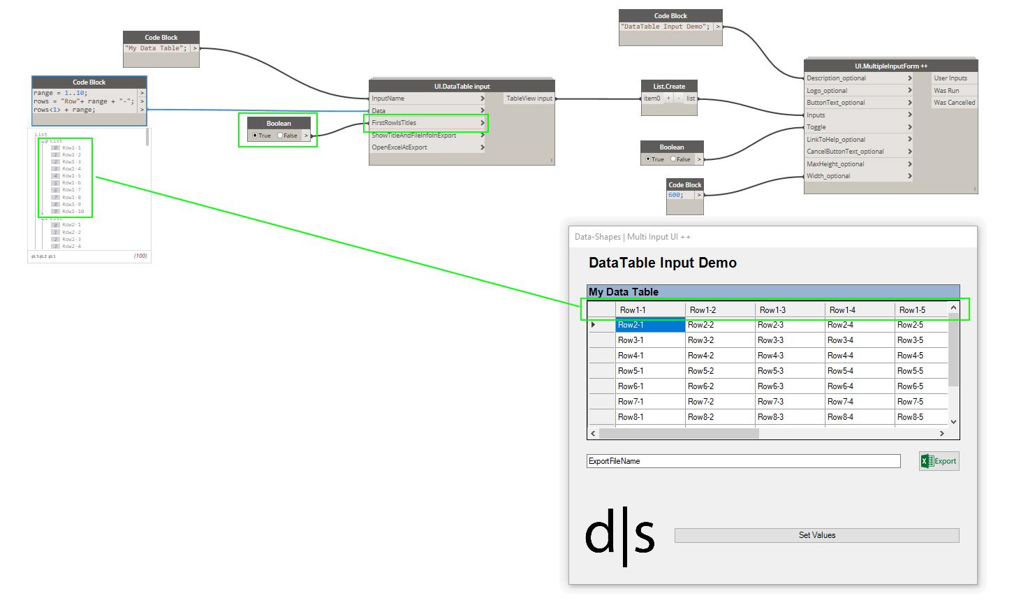 UI DataTable input – data shapes
